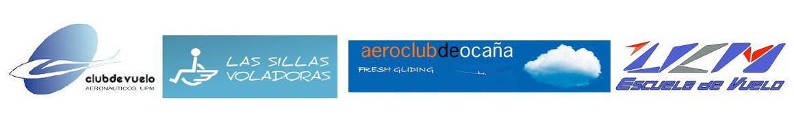 Logo de los tres clubs de vuelo que operan en Ocaña y de la escuela